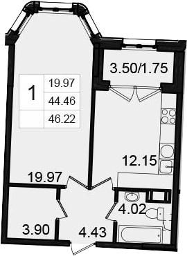 1-комнатная, 46.22 м²– 2