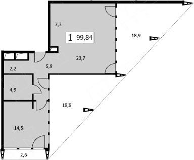 2Е-комнатная, 99.9 м²– 2
