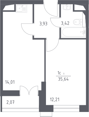 2Е-к.кв, 35.64 м²