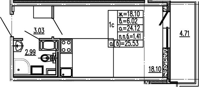 Студия, 24.12 м²