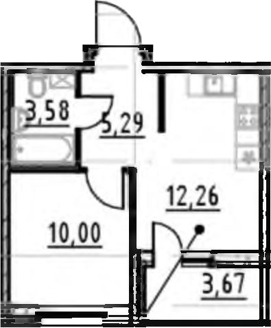 1-комнатная, 31.13 м²– 2