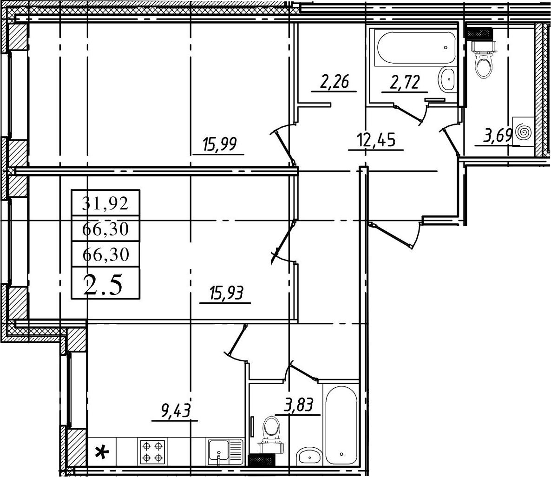 2-к.кв, 66.3 м²