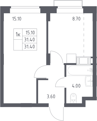 1-к.кв, 31.4 м², 14 этаж