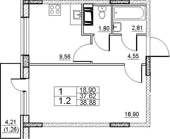 1-к.кв, 41.82 м²