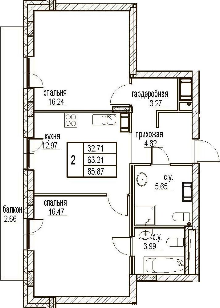 2-комнатная, 65.87 м²– 2