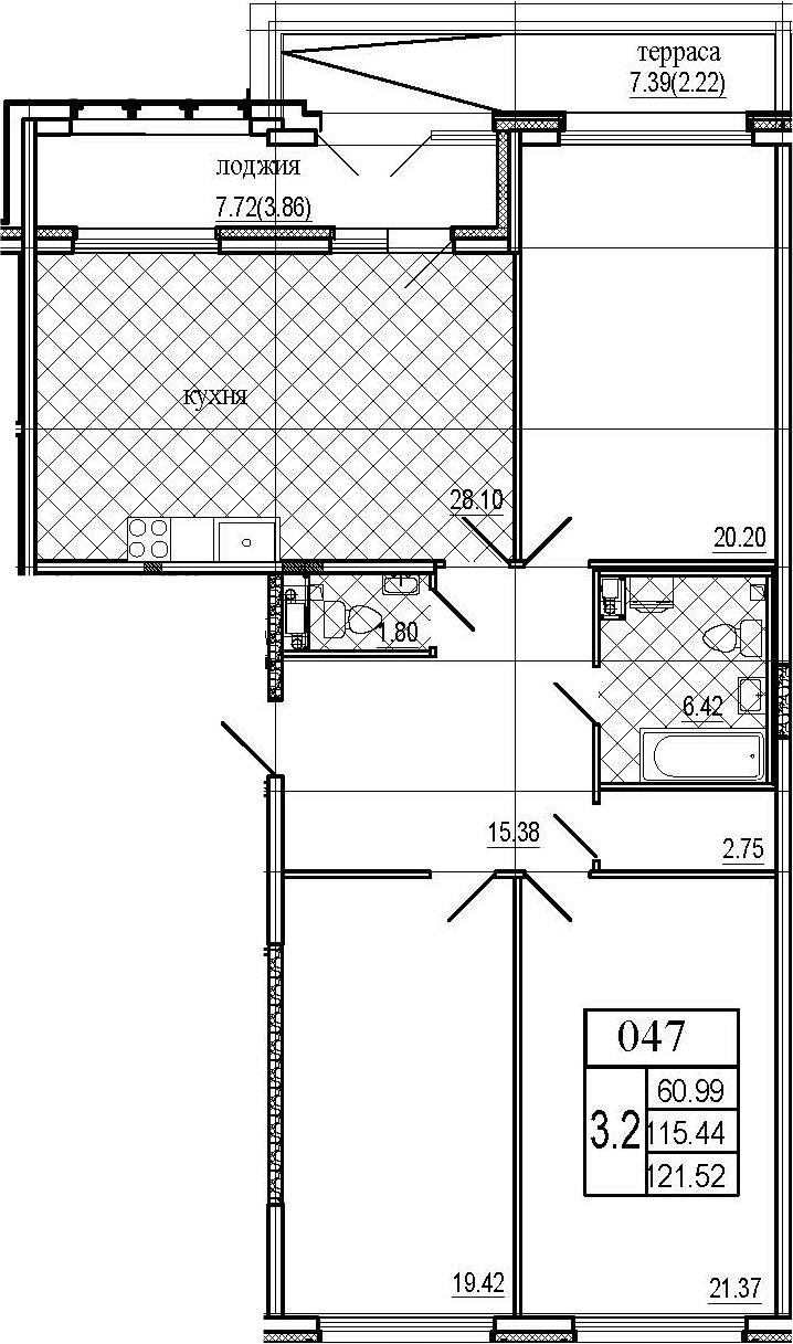 4Е-к.кв, 121.52 м², 7 этаж