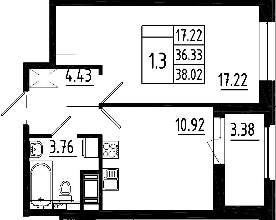 1-к.кв, 36.33 м²