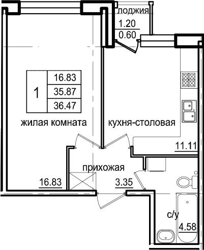 1-к.кв, 37.07 м²