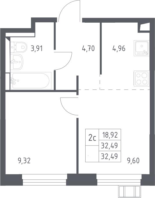 2Е-к.кв, 32.49 м²
