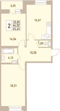 2-комнатная, 65.65 м²– 2