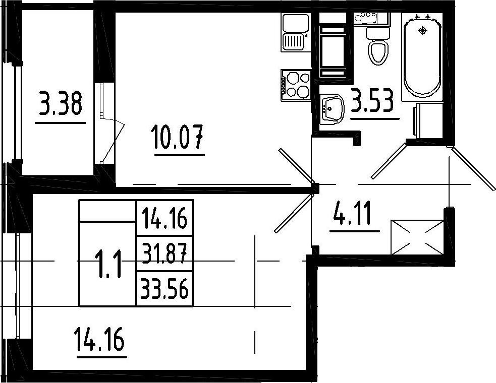 1-к.кв, 35.25 м²