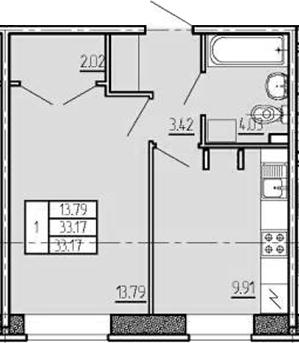 1-комнатная, 33.17 м²– 2