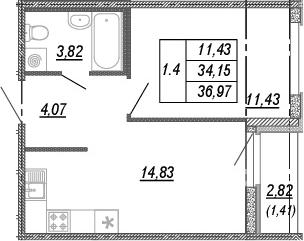 1-к.кв, 34.15 м², от 2 этажа