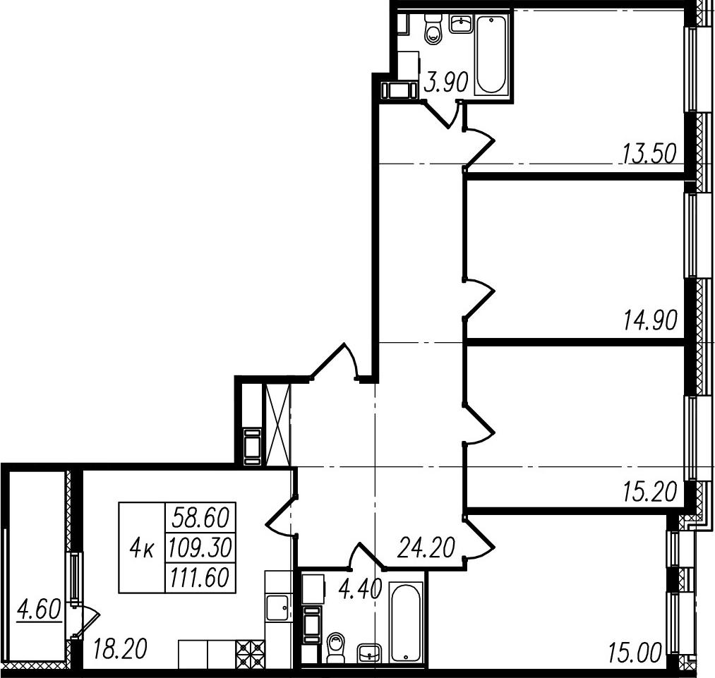 5-к.кв (евро), 113.9 м²