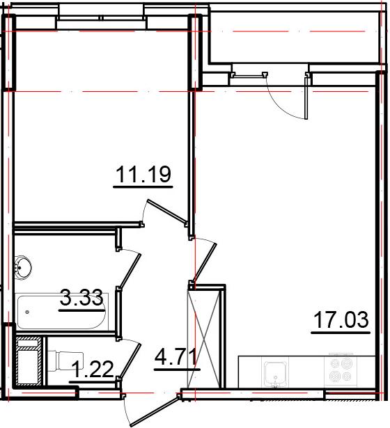 2Е-комнатная, 39.02 м²– 2