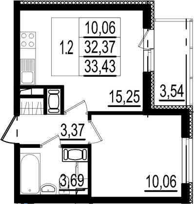 2Е-к.кв, 32.37 м²
