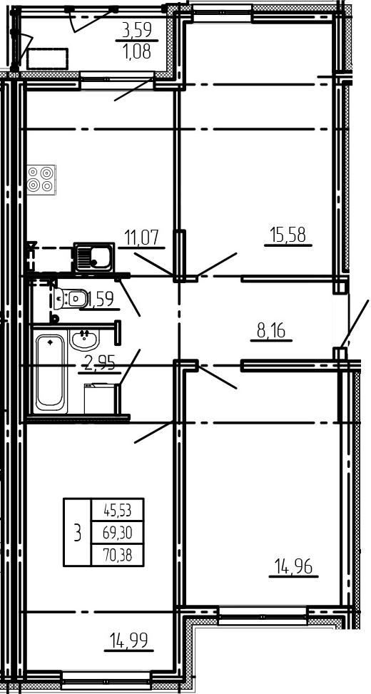 3-к.кв, 70.38 м²