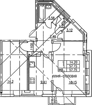 2-к.кв (евро), 58.5 м²