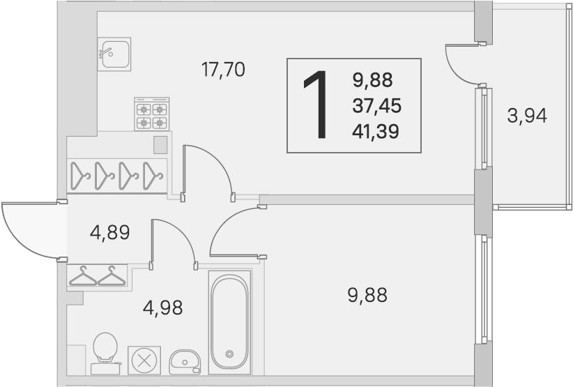 2Е-комнатная, 37.45 м²– 2