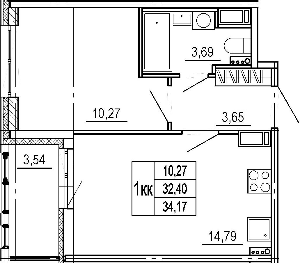 2-к.кв (евро), 35.94 м²