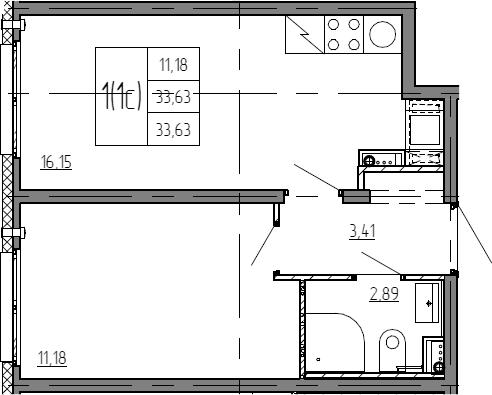 2Е-комнатная, 33.63 м²– 2