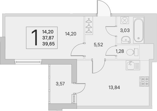 1-комнатная, 37.87 м²– 2
