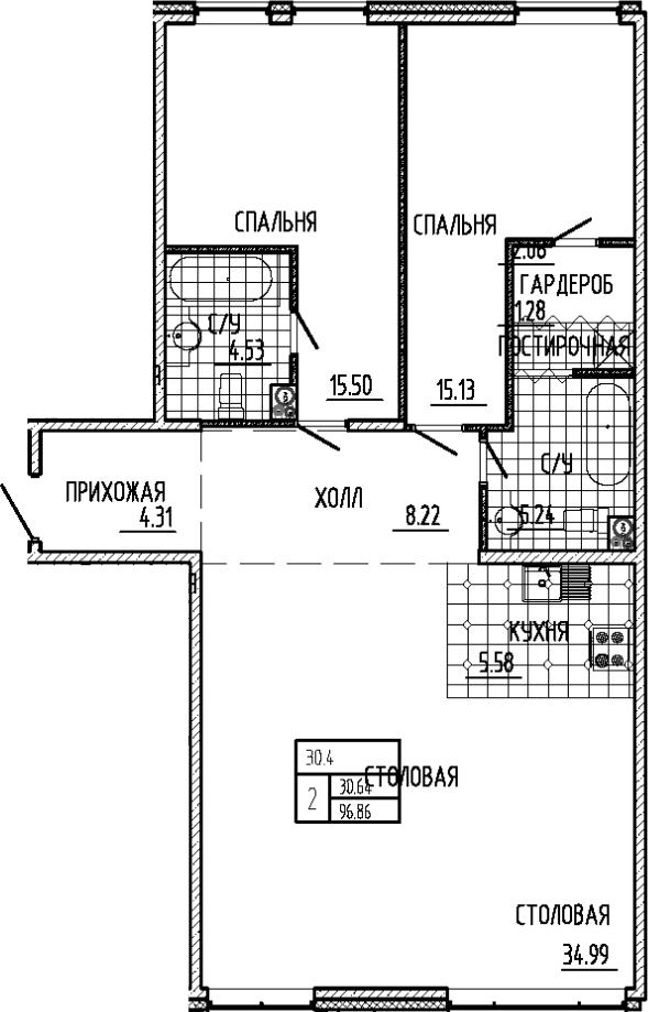 3Е-к.кв, 96.86 м²