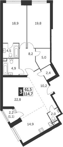 3-комнатная, 114.7 м²– 2