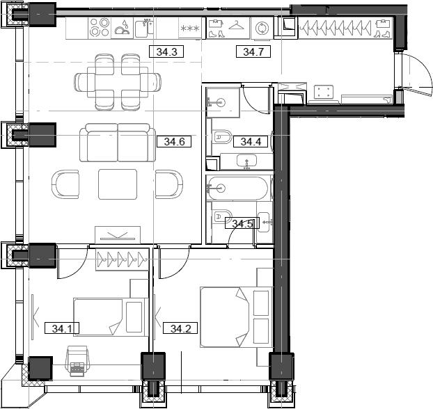 3Е-комнатная, 64.7 м²– 2