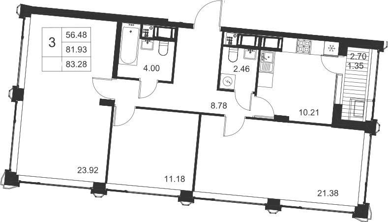 3-к.кв, 83.28 м², 16 этаж