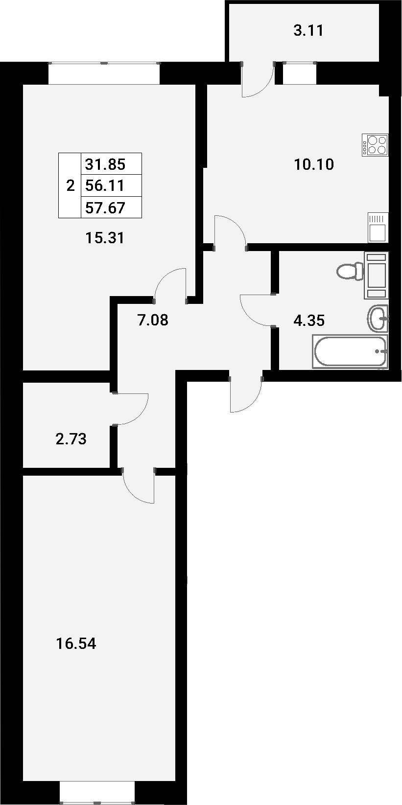 2-к.кв, 59.22 м²