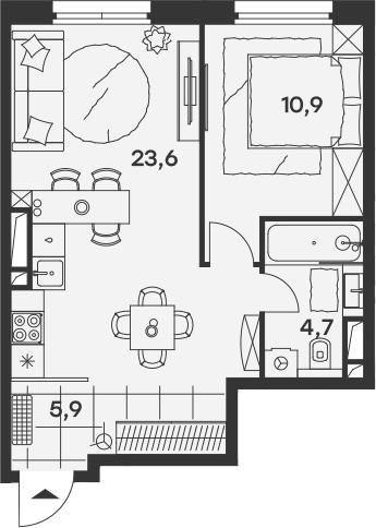 2Е-к.кв, 45.1 м², 12 этаж
