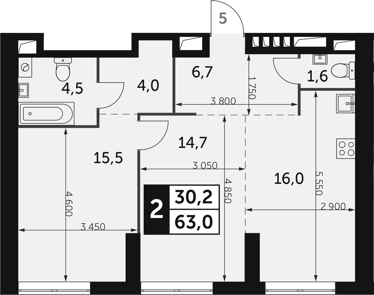 2-комнатная, 63 м²– 2