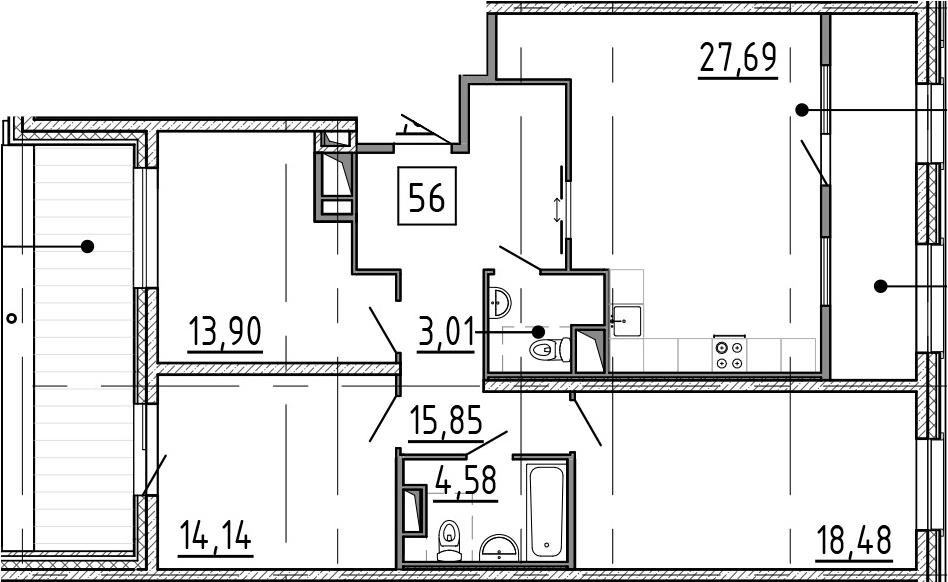 4-к.кв (евро), 119.58 м²