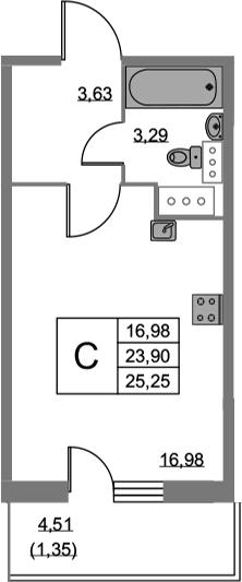 Студия, 25.25 м², 19 этаж
