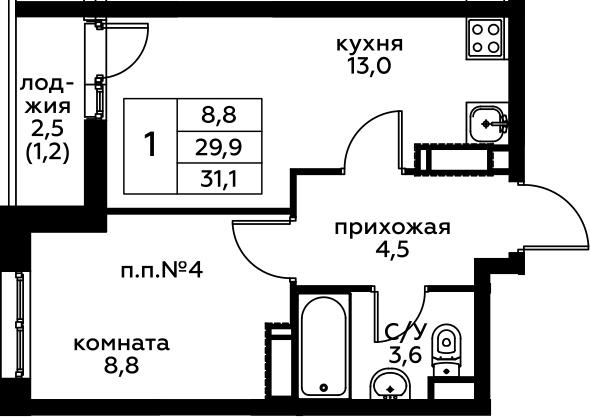 1-комнатная, 31.1 м²– 2