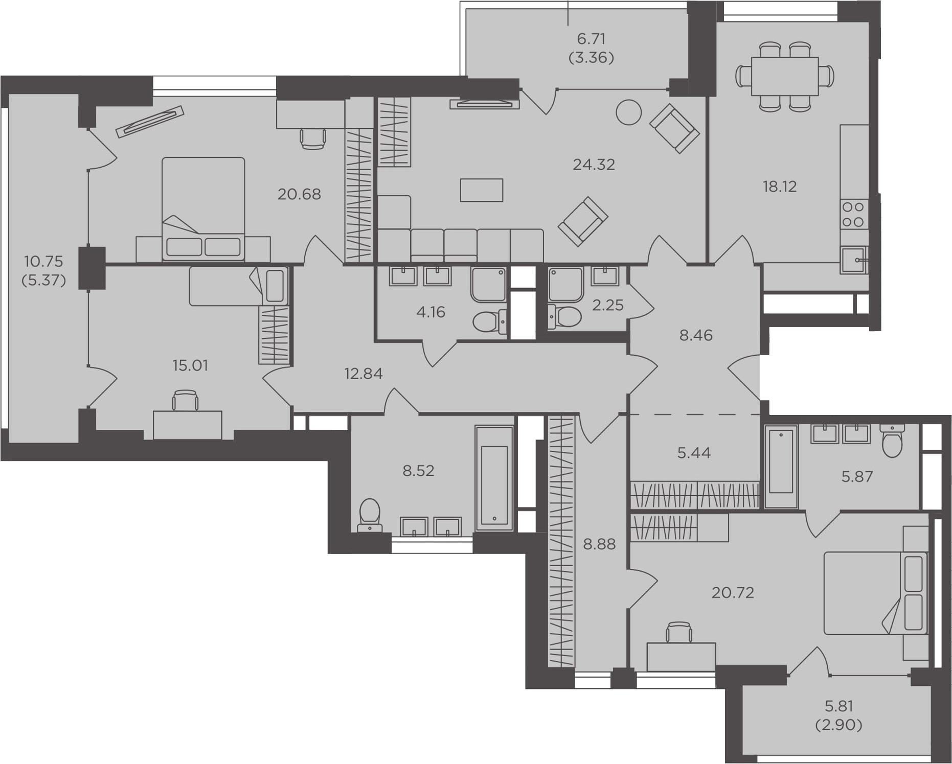 4-к.кв, 166.9 м²