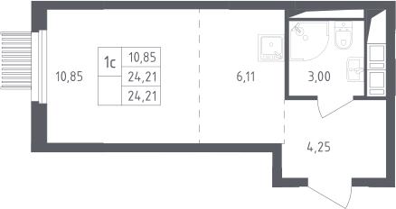 Студия, 24.21 м²