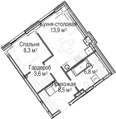 2-к.кв (евро), 40.8 м²