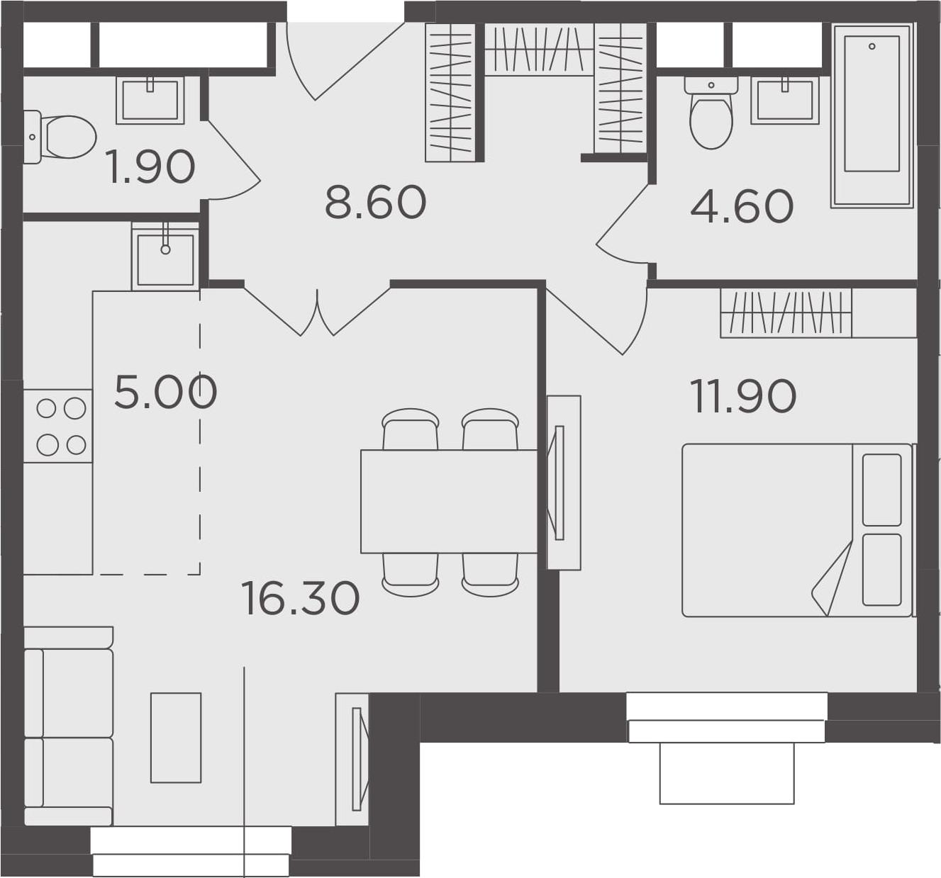 2Е-к.кв, 48.3 м², 24 этаж