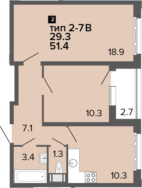 2-к.кв, 51.4 м², 19 этаж