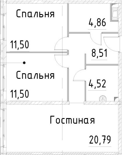 3Е-комнатная, 61.67 м²– 2