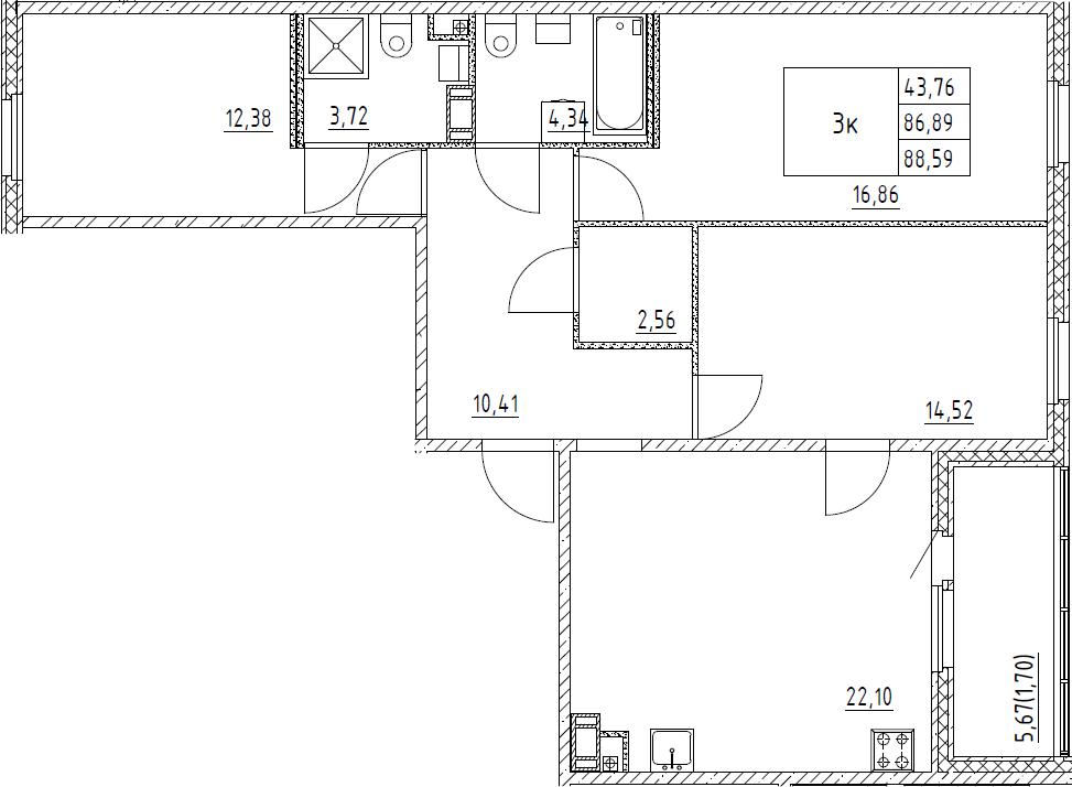 3-к.кв, 88.59 м²