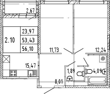 3Е-комнатная, 54.77 м²– 2