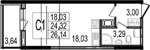 Студия, 24.32 м², 3 этаж