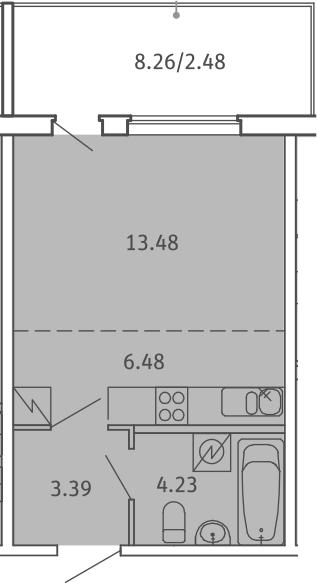 Студия, 30.06 м²– 2