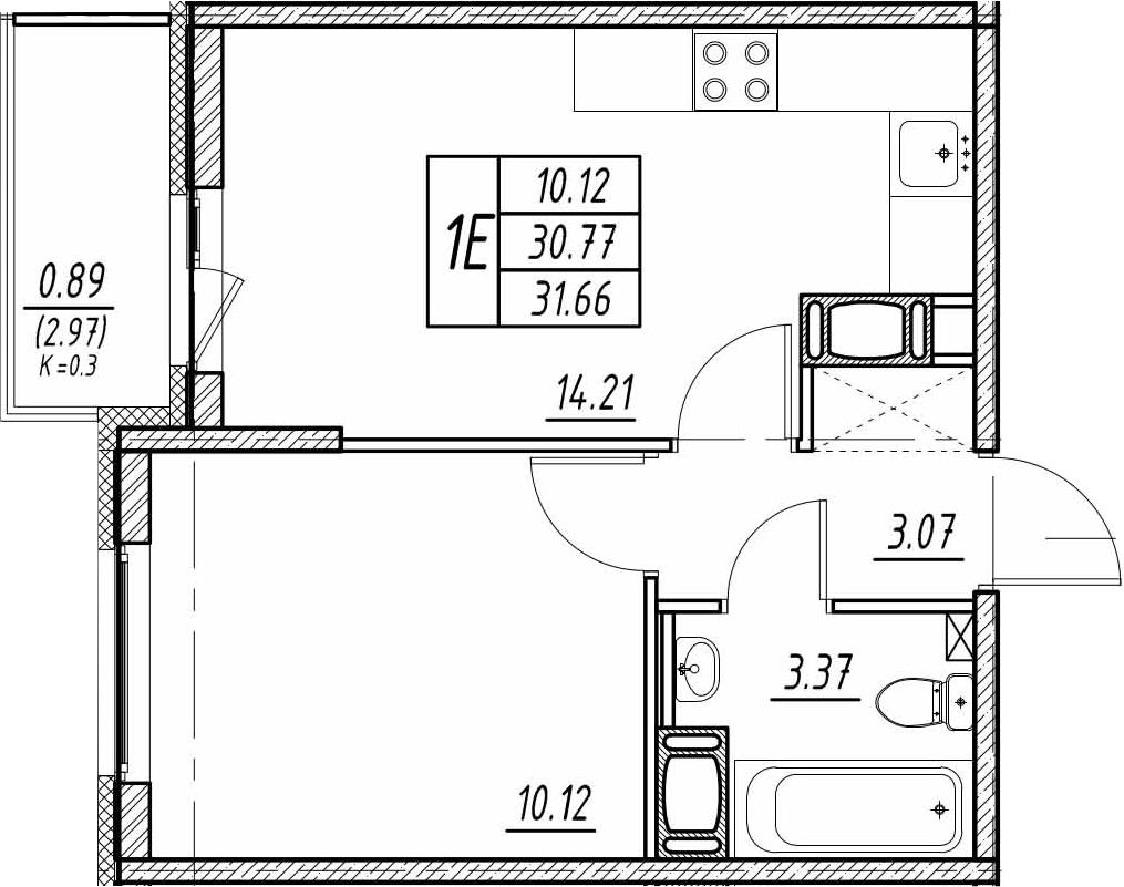2-к.кв (евро), 33.74 м²