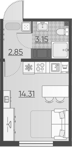 Студия, 20.31 м², 2 этаж – Планировка
