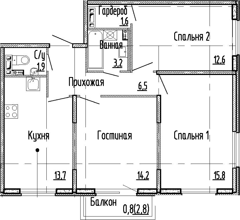 3-комнатная, 69.5 м²– 2