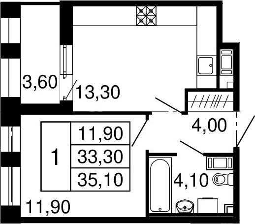 2Е-к.кв, 33.3 м²